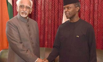 Vice President, M. Hamid Ansari with the Vice President of Nigeria, Yemi Osinbajo, in Abuja, Nigeria.