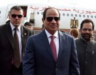 President of Egypt, Mr. Abdel Fattah el-Sisi being received by the Minister of State for Minority Affairs (Independent Charge) and Parliamentary Affairs, Shri Mukhtar Abbas Naqvi, on his arrival, at Air Force Station Palam, in New Delhi