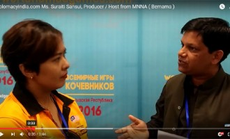Diplomacyindia.com Interview with Ms. Suraiti Sansui, Producer / Host from Malaysian National News Agency ( Bernama ) speaking on impressions about her impressions of World Nomad Games 2016 which were held in Issy-kul Lake, Choplon-ata, Kyrgyzstan