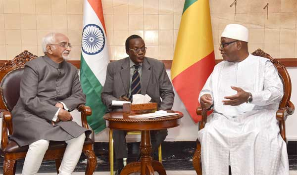 The Vice President, M. Hamid Ansari calling on the President of Mali, Ibrahim Boubacar Keita, in Bamako, Mali.