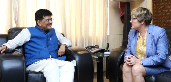 The Ambassador of Finland to India, Nina Vaskunlahti meeting the Minister of State for Power, Coal, New and Renewable Energy and Mines (Independent Charge), Piyush Goyal, in New Delhi.