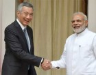 Prime Minister, Narendra Modi with the Prime Minister of Singapore, Lee Hsien Loong, at Hyderabad House