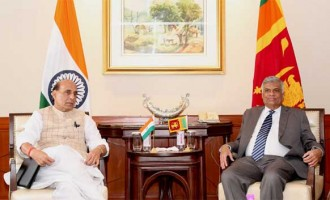 The Home Minister, Rajnath Singh calling on the Prime Minister of the Democratic Socialist Republic of Sri Lanka, Ranil Wickremesinghe