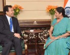 Ambassador-designate of People Republic of China, Luo Zhaohui meeting the MoS for Commerce & Industry (IC), Nirmala Sitharaman