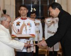 Ambassador-Designate of China, Luo Zhaohui presenting his credentials to the President, Pranab Mukherjee