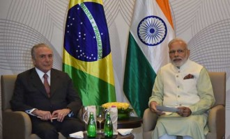 Prime Minister, Narendra Modi and the President of Brazil, Michel Temer, during bilateral meeting