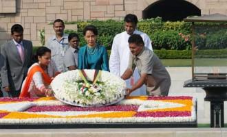 State Counsellor of Myanmar, Aung San Suu Kyi paying floral tributes at the Samadhi of Mahatma Gandhi,