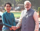 Prime Minister, Narendra Modi receiving the State Counsellor of Myanmar, Aung San Suu Kyi,