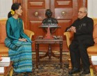 President Mukherjee meets Aung San Suu Kyi