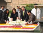 Prime Minister of New Zealand, John Key laying wreath at the Samadhi of Mahatma Gandhi, at Rajghat