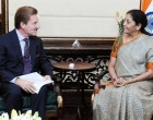 Ambassador of Switzerland to India, Andreas Baum meeting the Minister of State for Commerce & Industry (IC), Nirmala Sitharaman