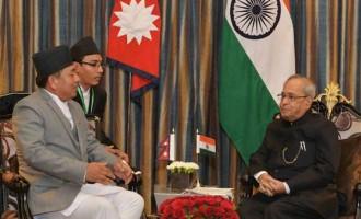 The Vice President of Nepal, Nanda Bahadur Pun calling on the President, Pranab Mukherjee, at Kathmandu,