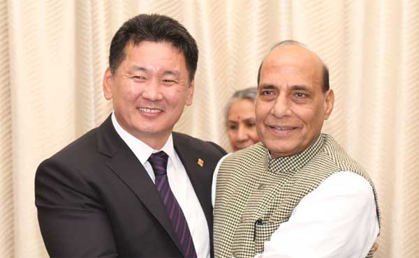The Deputy Prime Minister of Mongolia, Khurelsukh Ukhna meeting the Union Home Minister, Rajnath Singh, in New Delhi.