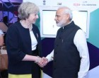 PM, Narendra Modi meeting the Prime Minister of United Kingdom, Theresa May at the India-UK Tech Summit,
