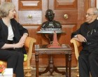 Prime Minister of United Kingdom, Theresa May calling on the President, Pranab Mukherjee, at Rashtrapati Bhawan