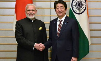 Prime Minister, Narendra Modi with the Prime Minister of Japan, Shinzo Abe,
