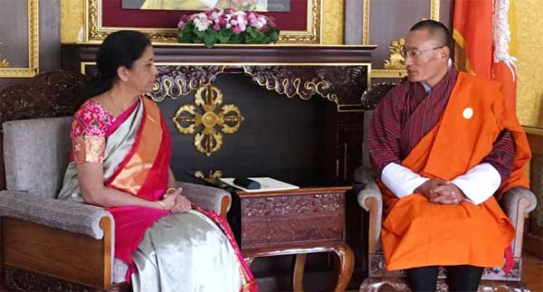 The Minister of State for Commerce & Industry (Independent Charge), Nirmala Sitharaman calls on the Prime Minister of Bhutan, Tshering Tobgay, in Thimpu, Bhutan on November 12, 2016.