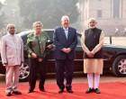 President, Pranab Mukherjee and the Prime Minister, Narendra Modi with the President of Israel, Reuven Rivlin
