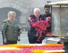 President of Israel, Reuven Rivlin paying floral tributes at the Samadhi of Mahatma Gandhi, at Rajghat, in Delhi