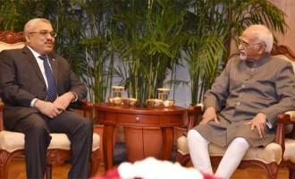 Vice President of Maldives, Abdulla Jihad calling on the Vice President, M. Hamid Ansari, in New Delhi