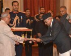 Ambassador-designate of Nepal, Deep Kumar Upadhyay presenting his credentials to the President,