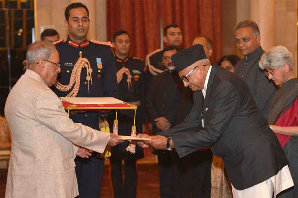 The Ambassador-designate of Nepal, Deep Kumar Upadhyay presenting his credentials to the President, Pranab Mukherjee, at Rashtrapati Bhavan, in New Delhi on November 30, 2016.