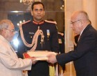 Ambassador-designate of Peru, Jorge Juan Castaneda Mendez presenting his credentials to the President, Pranab Mukherjee