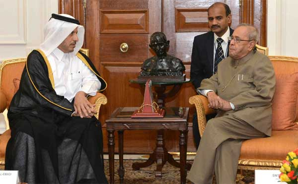 The Prime Minister of Qatar, Sheikh Abdullah bin Nasser bin Khalifa Al Thani calling on the President, Pranab Mukherjee, at Rashtrapati Bhavan, in New Delhi.