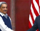 The US Secretary of Defence, Dr. Ashton Carter meeting the Union Minister for Defence, Manohar Parrikar,