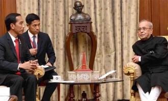 President of Indonesia, Joko Widodo meeting the President, Pranab Mukherjee, at Rashtrapati Bhavan,