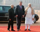 President of India, Pranab Mukherjee, receives Emomali Rahmon, the President of the Republic of Tajikistan