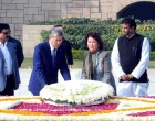 President of the Republic of Kyrgyzstan, Almazbek Sharshenovich Atambayev laying wreath at the Samadhi of Mahatma Gandhi, at Rajghat