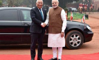 Prime Minister, Narendra Modi welcomes the Prime Minister of Portuguese Republic, Antonio Costa