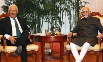 Prime Minister of Portuguese Republic, Antonio Costa calling on the Vice President, M. Hamid Ansari,