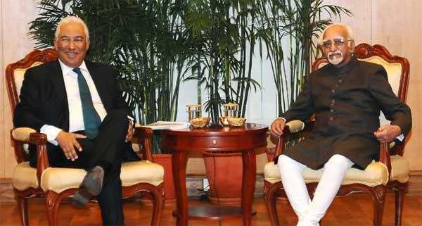 The Prime Minister of Portuguese Republic, Antonio Costa calling on the Vice President, M. Hamid Ansari, in New Delhi on January 07, 2017.
