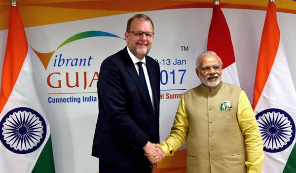 The Minister for Energy, Utilities and Climate, Denmark, Lars Christian Lilleholt calling on the Prime Minister, Narendra Modi, on the sidelines of the Vibrant Gujarat Global Summit 2017, in Gandhinagar, Gujarat on January 10, 2017.