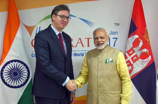 The Prime Minister, Narendra Modi holding 2nd bilateral meeting with the Prime Minister of Serbia, Aleksandar Vucic, on the sidelines of the Vibrant Gujarat Global Summit 2017, in Gandhinagar, Gujarat on January 10, 2017.