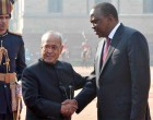 President of India, Pranab Mukherjee, receives Uhuru Kenyatta, President of the Republic of Kenya