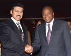 President of Kenya, Uhuru Kenyatta being received by the MoS for I&B, Col. Rajyavardhan Singh Rathore,