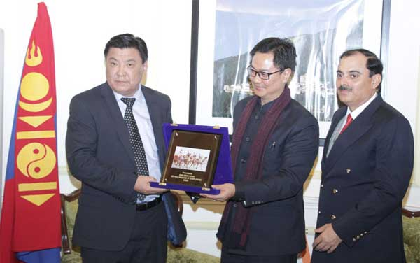 The Head of General Authority for Border Protection, Mongolia, Major General Sergelen Ts calling on the Minister of State for Home Affairs, Kiren Rijiju, in New Delhi on January 13, 2017. The Director General, Border Security Force, K.K. Sharma is also seen.