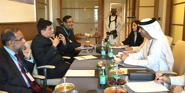 The Minister of State for Power, Coal, New and Renewable Energy and Mines (Independent Charge), Piyush Goyal in a bilateral meeting with the Minister of Climate Change and Environment, UAE, Dr. Thani Ahmed Al Zeyoudi, in Abu Dhabi, UAE.