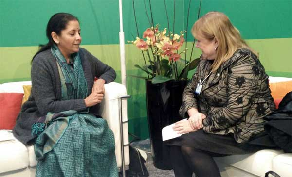 The Minister of Foreign Affairs, Argentina, Susana Malcorra meeting the Minister of State for Commerce & Industry (Independent Charge), Nirmala Sitharaman, at Davos, Switzerland on January 18, 2017.