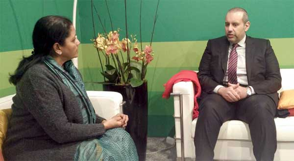 The Minister of Commerce, Qatar, Ahmed bin Jassim Al Thani meeting the Minister of State for Commerce & Industry (Independent Charge), Nirmala Sitharaman, at Davos, Switzerland on January 18, 2017.