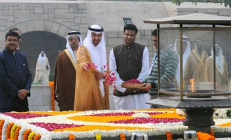 The Crown Prince of Abu Dhabi, Deputy Supreme Commander of U.A.E. Armed Forces, General Sheikh Mohammed Bin Zayed Al Nahyan paying floral tributes at the Samadhi of Mahatma Gandhi,