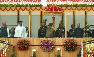 President, Pranab Mukherjee, with the Chief Guest of the Republic Day, The Crown Prince of Abu Dhabi, Deputy Supreme Commander of U.A.E. Armed Forces, General Sheikh Mohammed Bin Zayed Al Nahyan