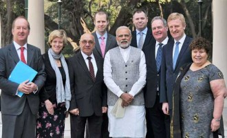 An eight-member delegation of British Parliamentarians calling on the Prime Minister, Narendra Modi,