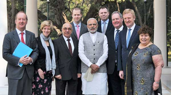An eight-member delegation of British Parliamentarians calling on the Prime Minister, Narendra Modi, in New Delhi.