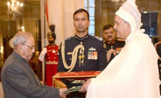 Ambassador-designate of Morocco, Mohamed Maliki presenting his credentials to the President, Pranab Mukherjee