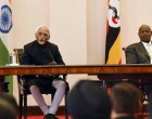 Vice President, M. Hamid Ansari and the President of Uganda, Yoweri Museveni making joint press statement