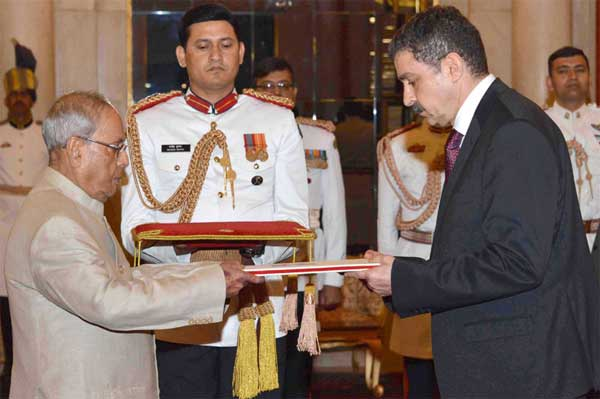 The Ambassador-Designate of the Republic of Turkey, Sakir Ozkan Torunlar presenting his credentials to the President, Pranab Mukherjee, at Rashtrapati Bhavan, in New Delhi on March 29, 2017.